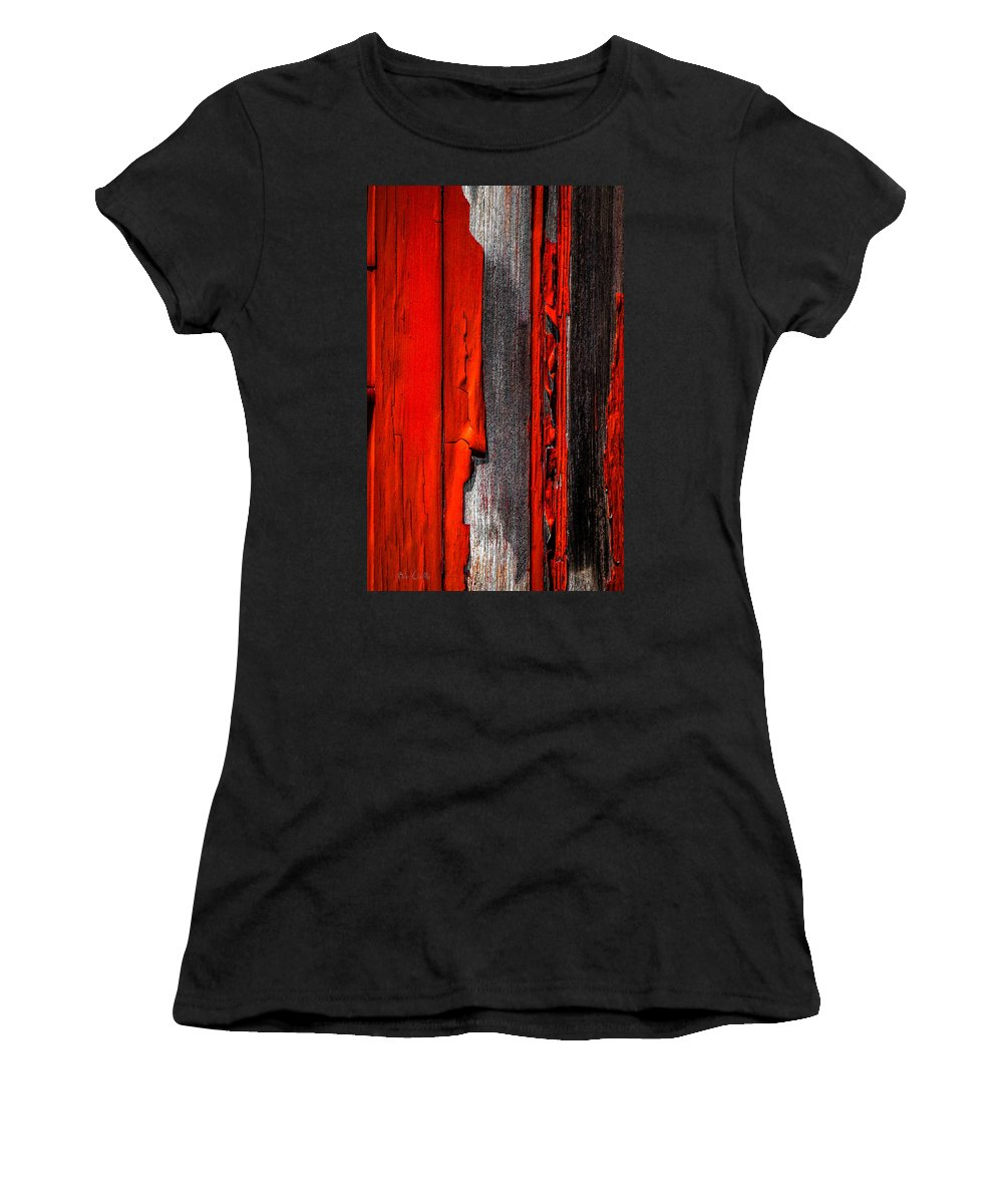 Abstract Women's T-Shirt (Athletic Fit) featuring the photograph Old Red Barn Four by Bob Orsillo