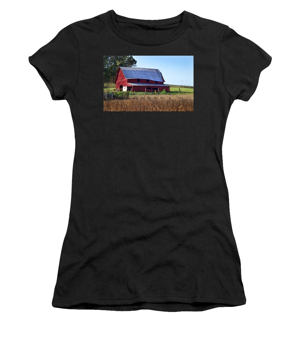 Duane Mccullough Women's T-Shirt (Athletic Fit) featuring the photograph Old Red Barn Near Etowah Nc by Duane McCullough