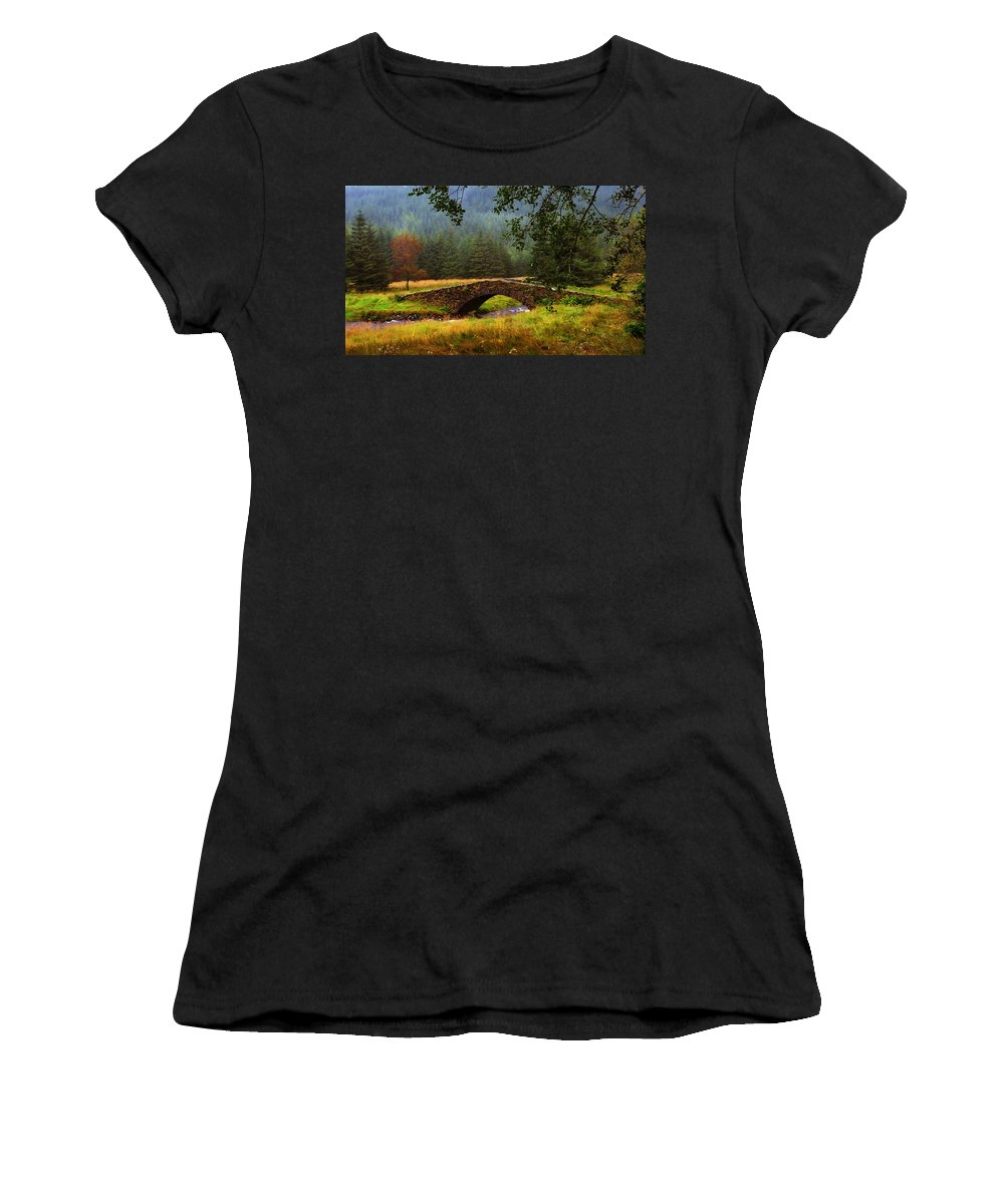 Scotland Women's T-Shirt featuring the photograph Old Stone Bridge Over Kinglas River. Scotland by Jenny Rainbow