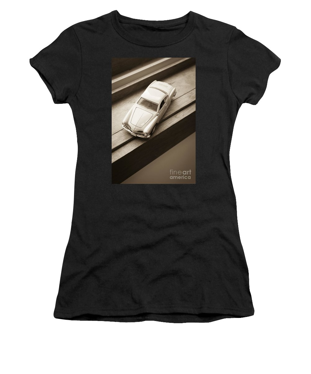 Old Women's T-Shirt (Athletic Fit) featuring the photograph Old Toy Car On The Window Sill by Edward Fielding