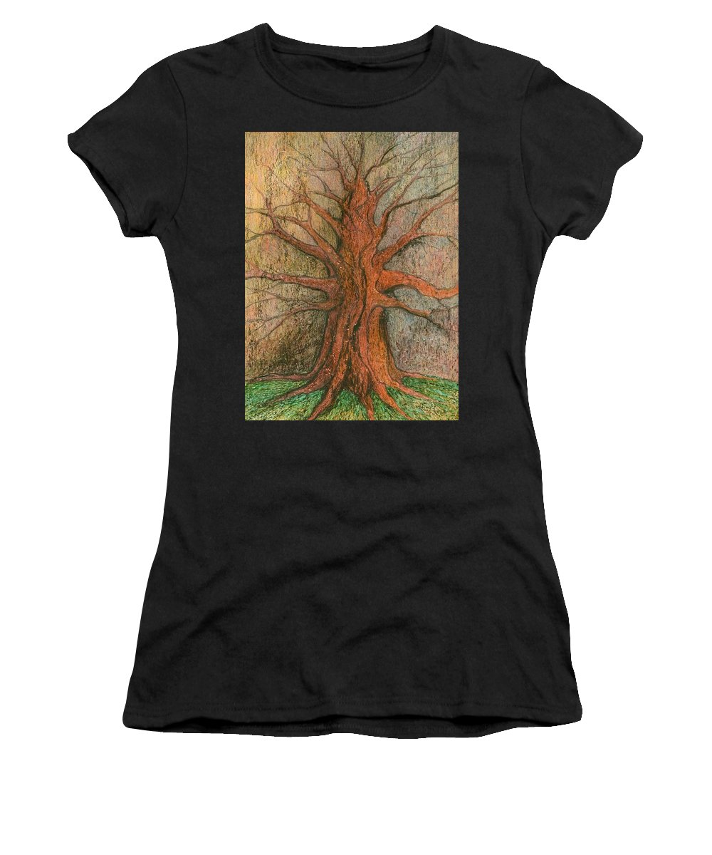 Colour Women's T-Shirt (Athletic Fit) featuring the drawing Old Tree by Wojtek Kowalski