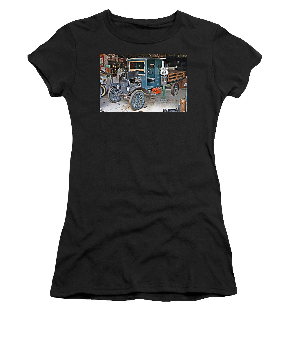 Truck Women's T-Shirt featuring the photograph Old Tyme Auto Shop by Hugh Carino