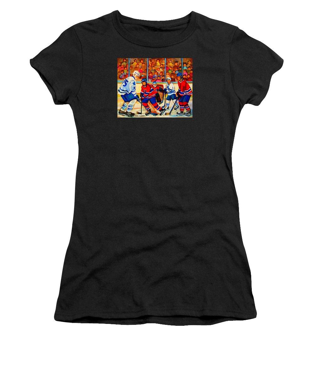 Hockey Women's T-Shirt (Athletic Fit) featuring the painting Olympic Hockey Hopefuls Painting By Montreal Hockey Artist Carole Spandau by Carole Spandau
