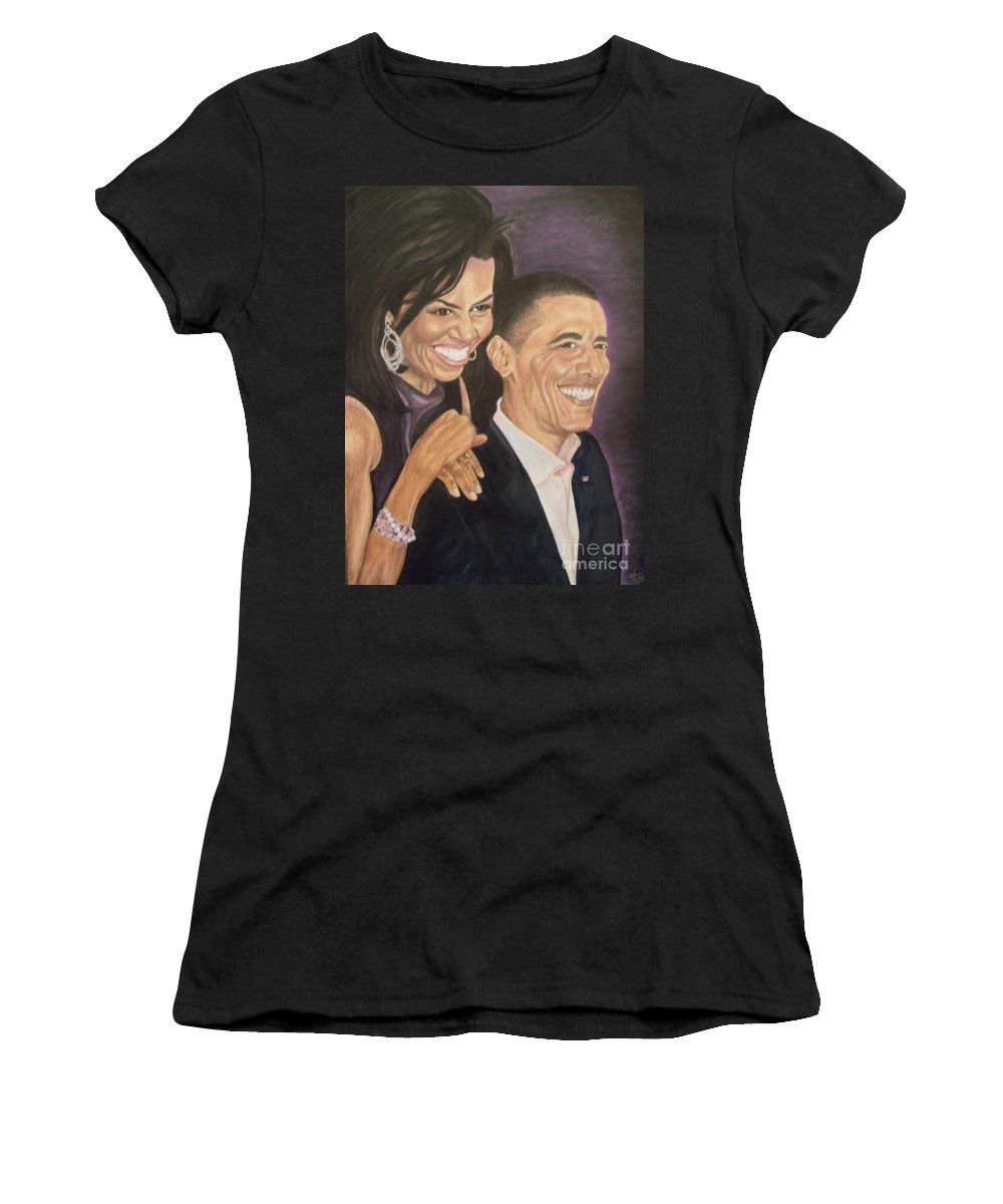 Portraits Women's T-Shirt featuring the painting Ombience Of Love The Obama by Arron Kirkwood
