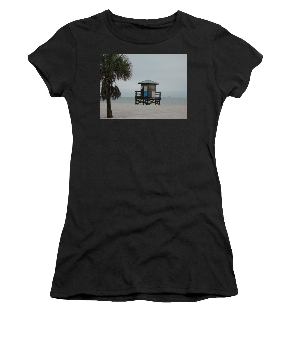 Beach Women's T-Shirt (Athletic Fit) featuring the photograph No Lifeguard On Duty by Christiane Schulze Art And Photography