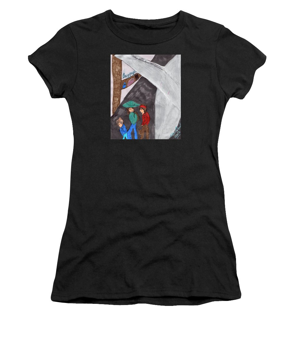 Airplane 3 People Women's T-Shirt featuring the mixed media On Our Way by Elinor Helen Rakowski