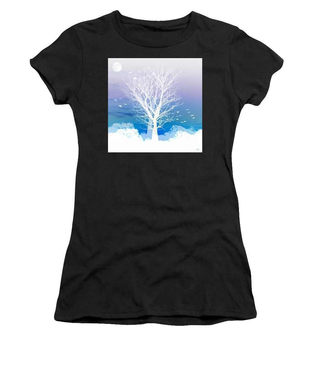 Tree Women's T-Shirt featuring the photograph Once Upon A Moon Lit Night... by Holly Kempe