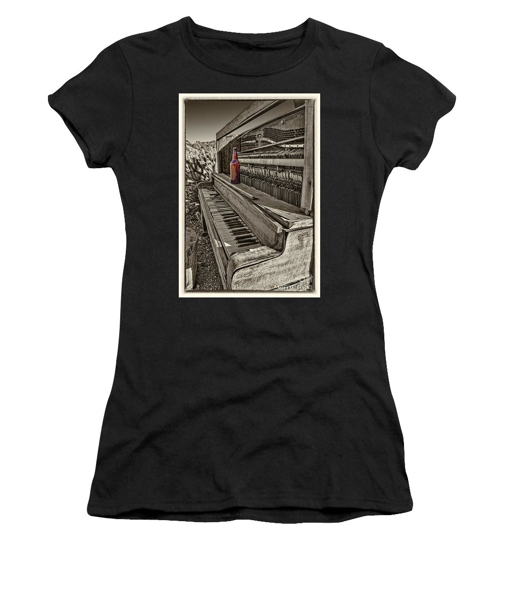Piano Women's T-Shirt featuring the pyrography One Beer by Mauro Celotti