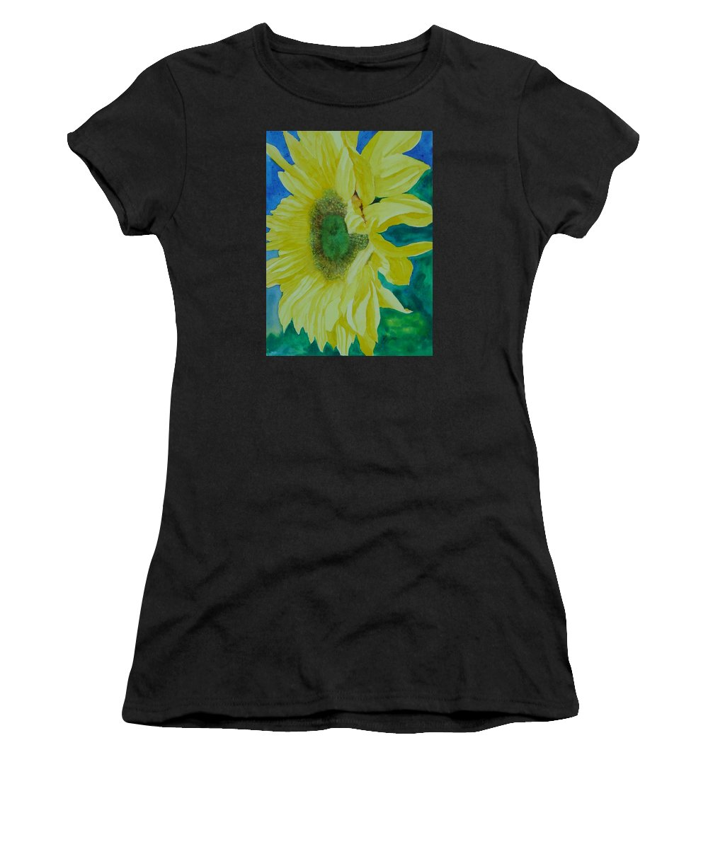 Original Sunflower Painting Women's T-Shirt featuring the painting One Bright Sunflower Colorful Original Art Floral Flowers Artist K. Joann Russell Decor Art by K Joann Russell