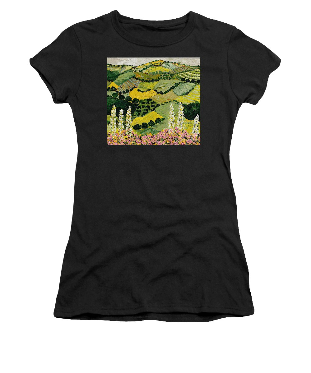 Landscape Women's T-Shirt (Athletic Fit) featuring the painting One More Smile by Allan P Friedlander