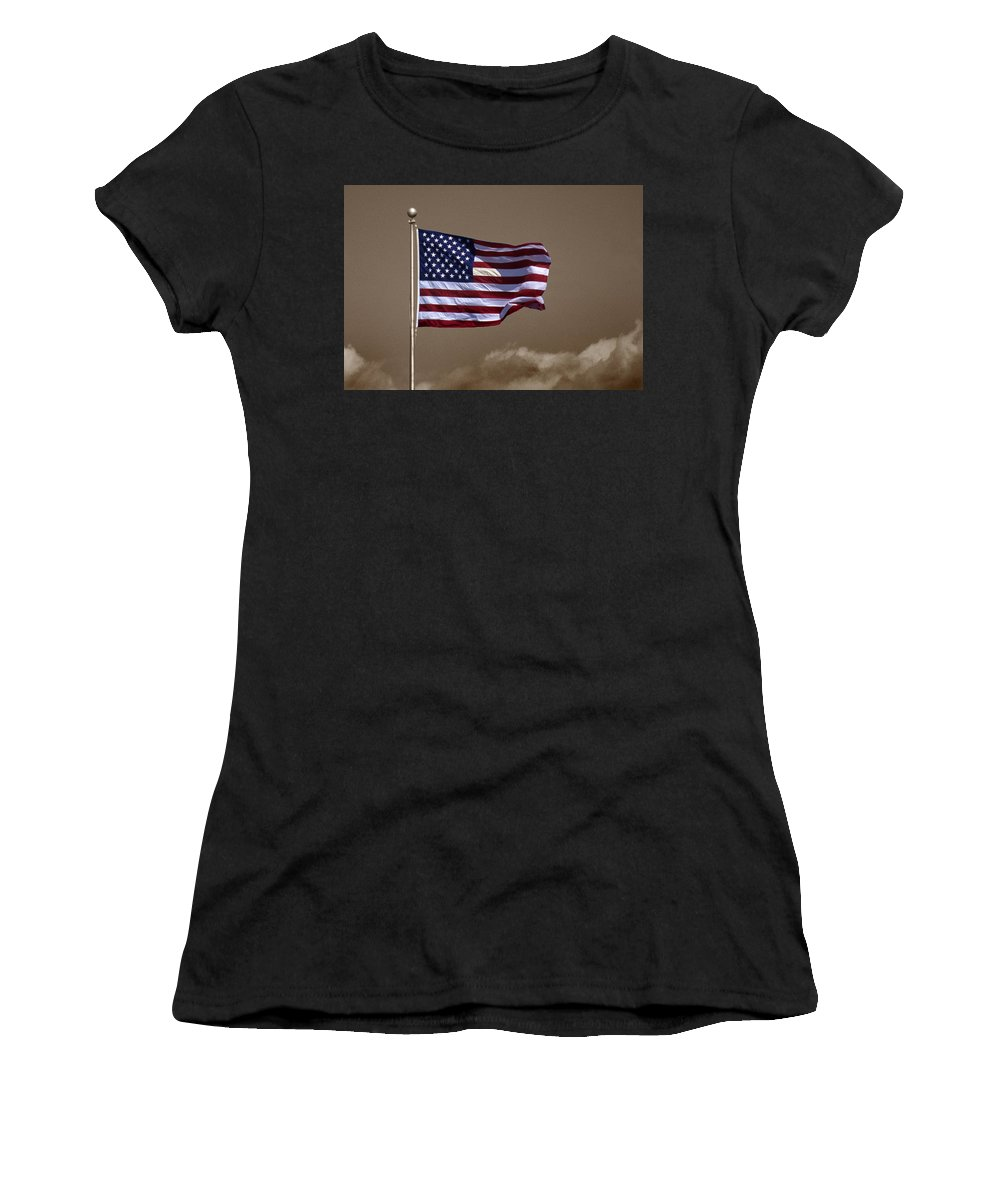 Flag Women's T-Shirt (Athletic Fit) featuring the photograph One Nation Under God by Skip Willits
