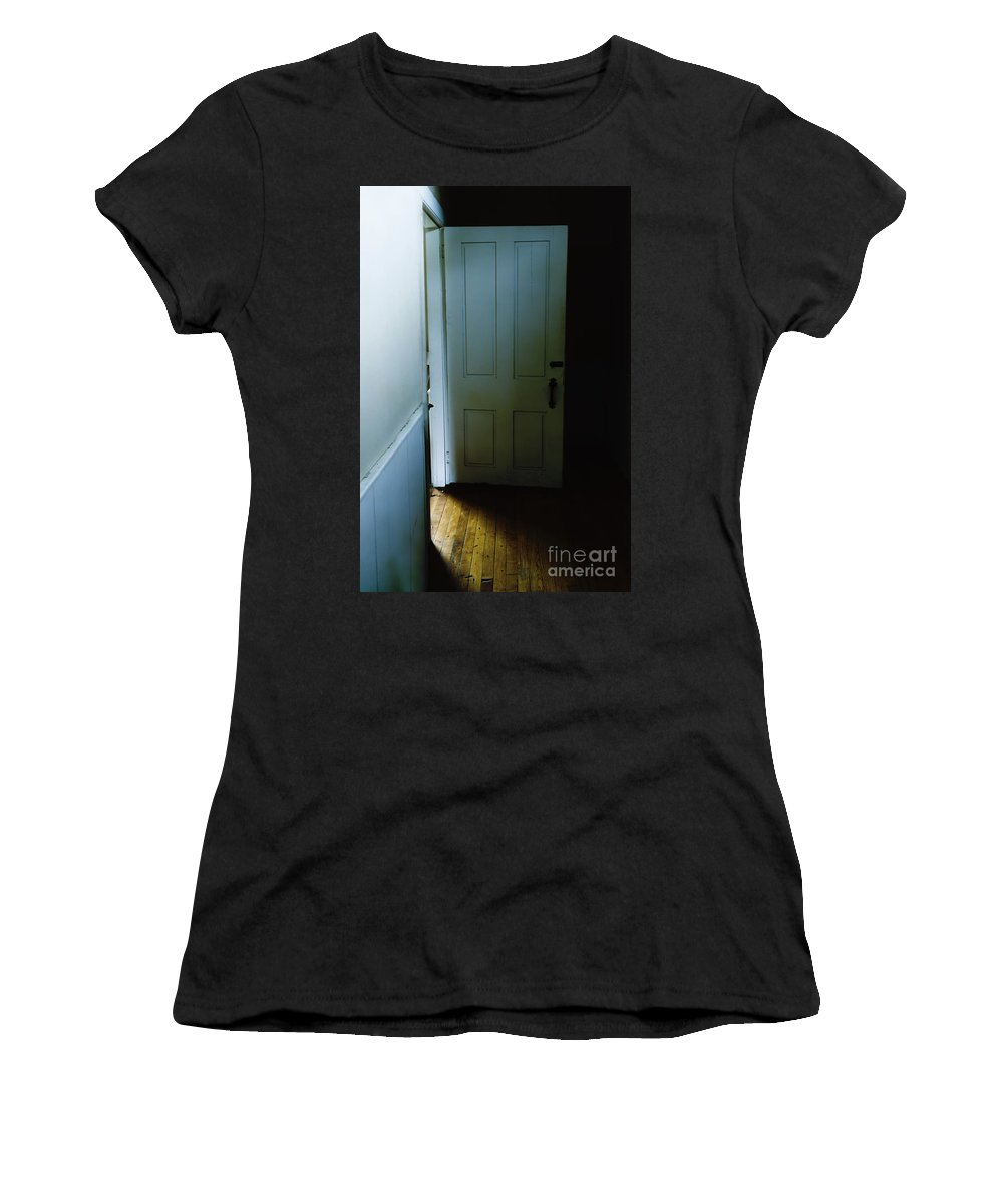 Door Women's T-Shirt featuring the photograph Open Door In Dark Hall by Margie Hurwich