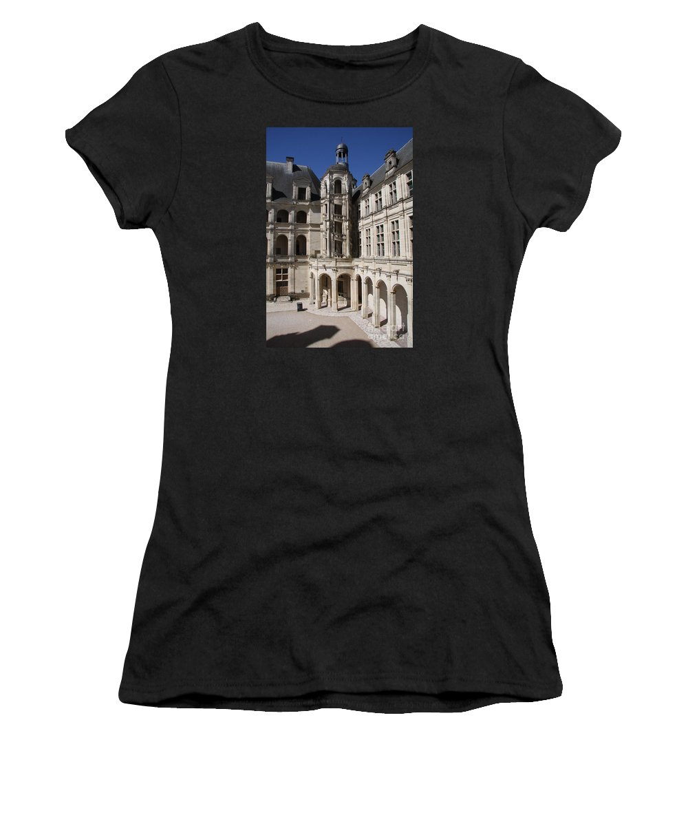 Palace Women's T-Shirt (Athletic Fit) featuring the photograph Open Staircase Chateau Chambord - France by Christiane Schulze Art And Photography