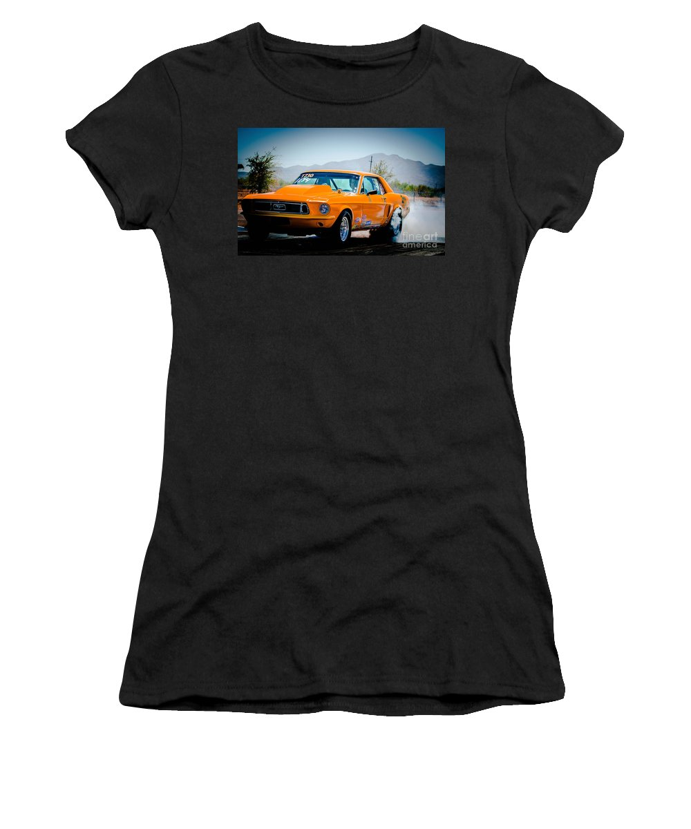 Orange Women's T-Shirt (Athletic Fit) featuring the photograph Orange Racing Mustang by Michael Moriarty