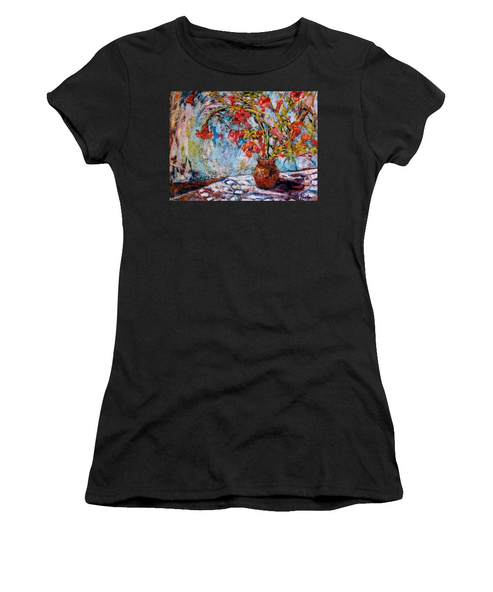 Trumpet Flowers Women's T-Shirt (Athletic Fit) featuring the painting Orange Trumpet Flowers by Kendall Kessler