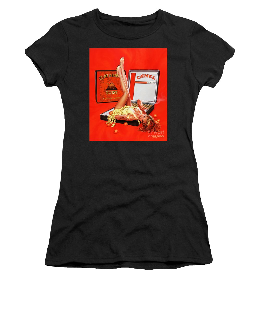 Portrait Women's T-Shirt (Athletic Fit) featuring the painting Orange Twist Girl by Dick Bobnick