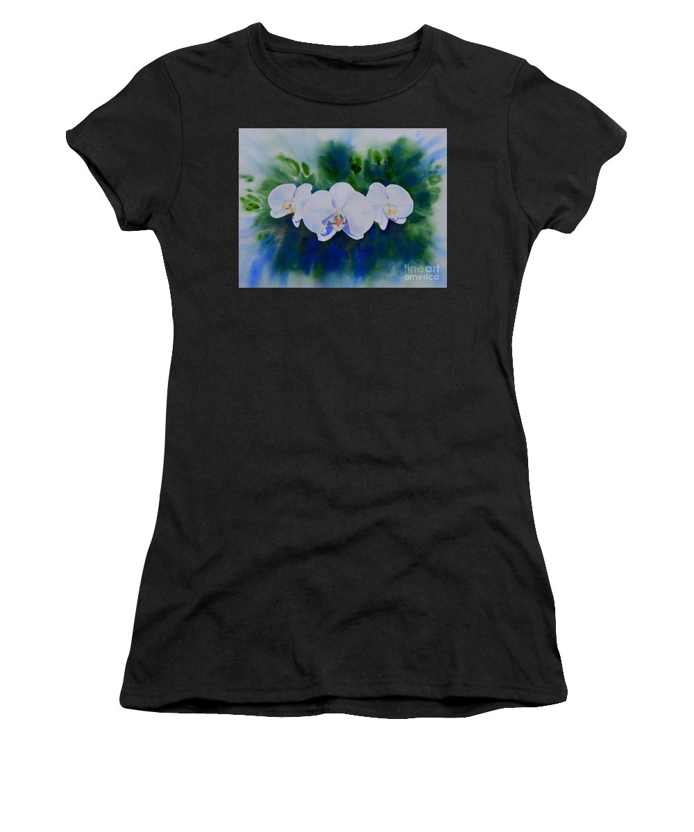 White Orchids Women's T-Shirt (Athletic Fit) featuring the painting Orchid Blast by H Cooper