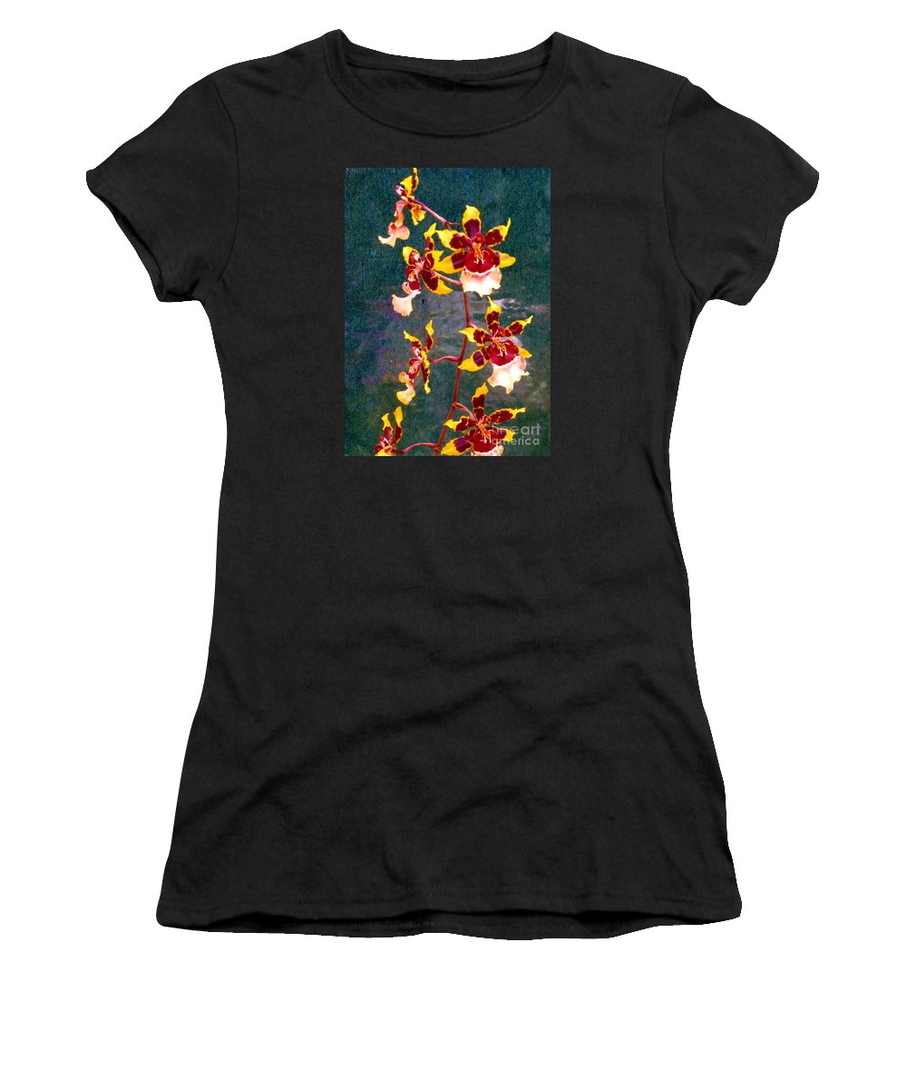 Orchid Women's T-Shirt featuring the photograph Orchid Spray By Pottery by Barbie Corbett-Newmin
