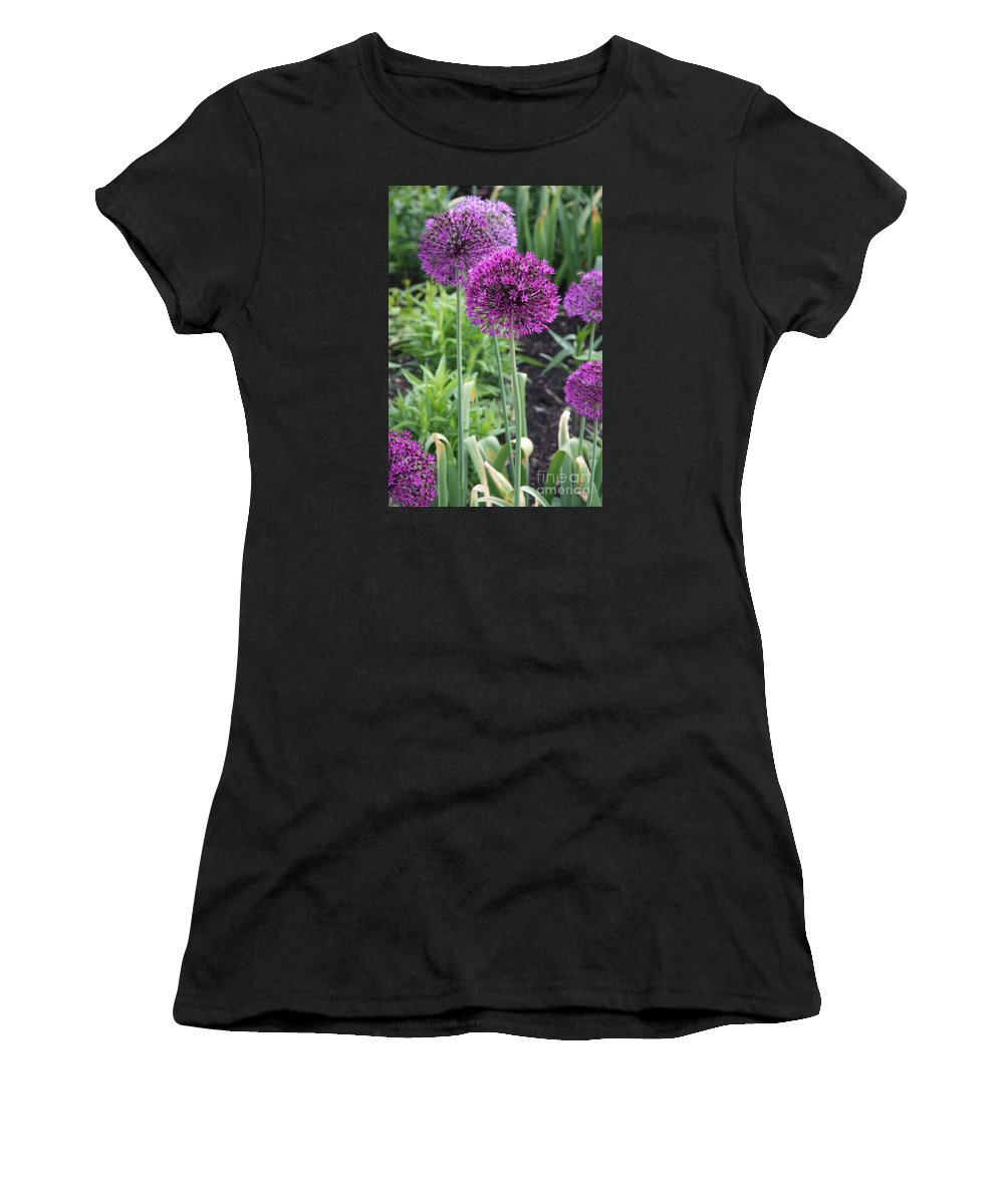 Flowers Women's T-Shirt (Athletic Fit) featuring the photograph Ornamental Leek Flower by Christiane Schulze Art And Photography