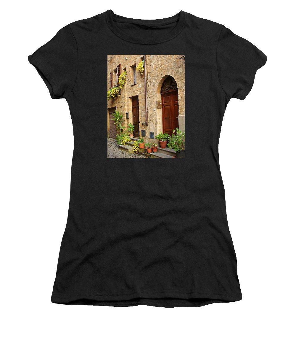 Orvieto Homes Women's T-Shirt featuring the photograph Orvieto Homes by Ellen Henneke