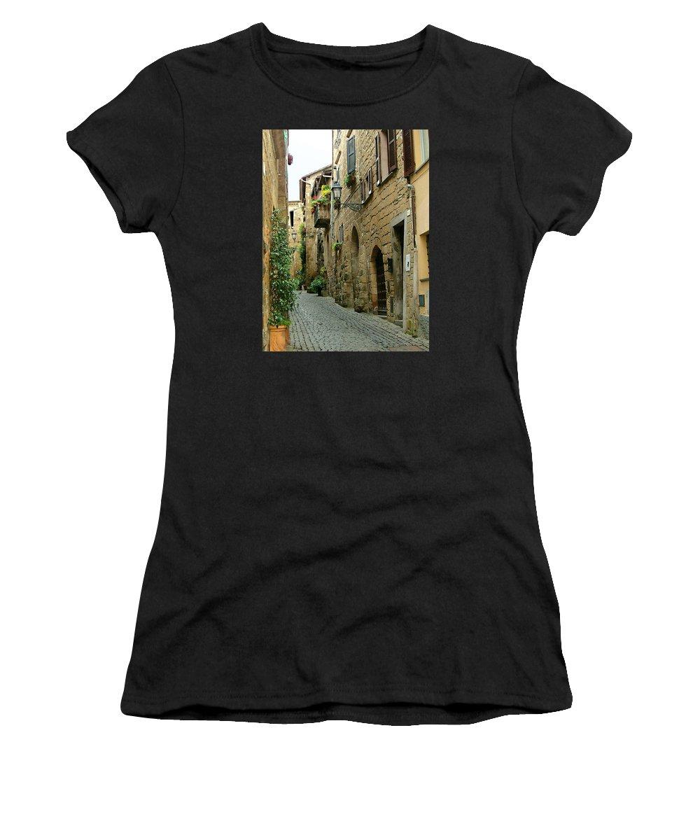 Orvieto Lane Women's T-Shirt (Athletic Fit) featuring the photograph Orvieto Lane by Ellen Henneke