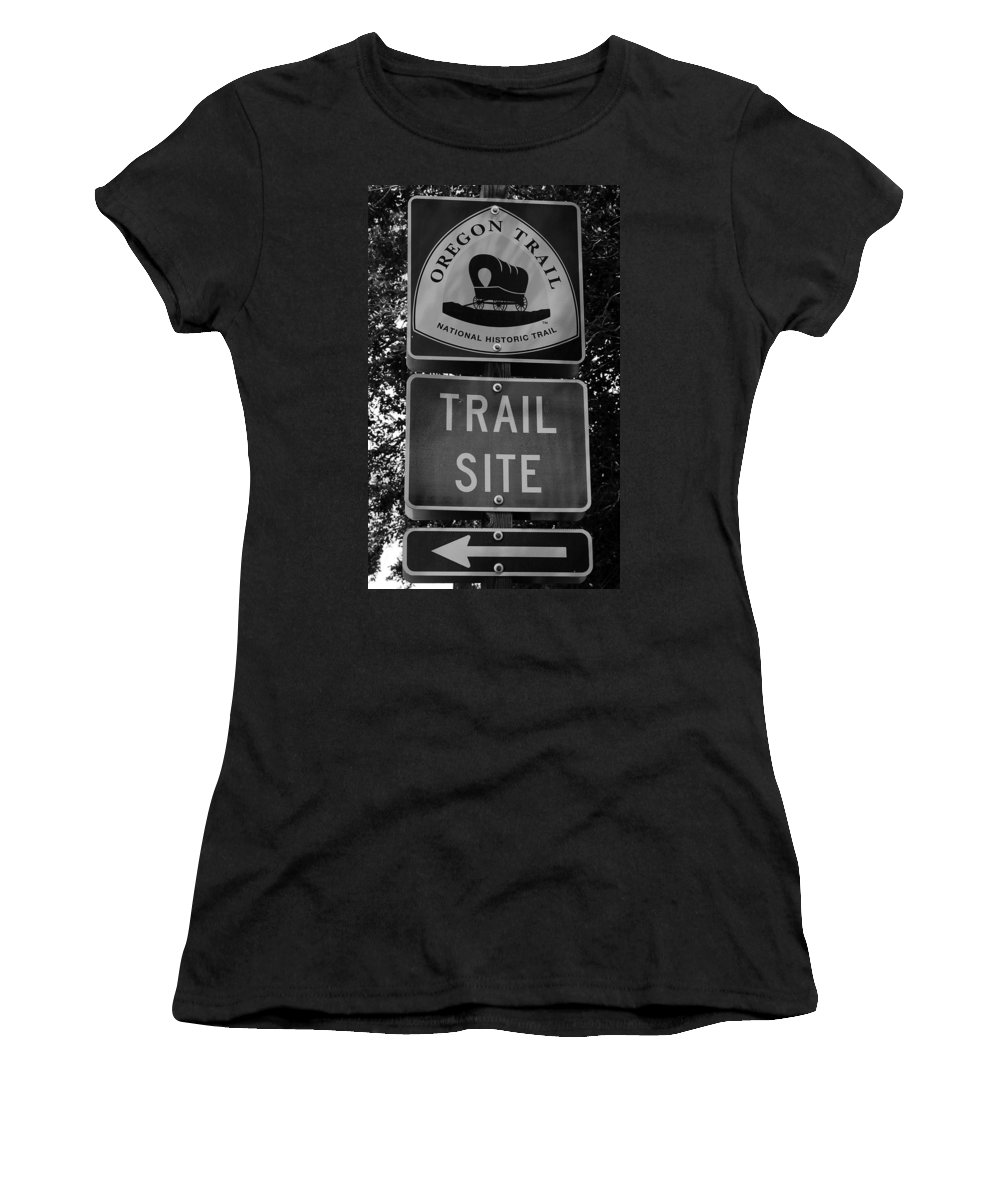 Oregon Trail Sign Women's T-Shirt featuring the photograph Oregon Trail Sign A by David Lee Thompson