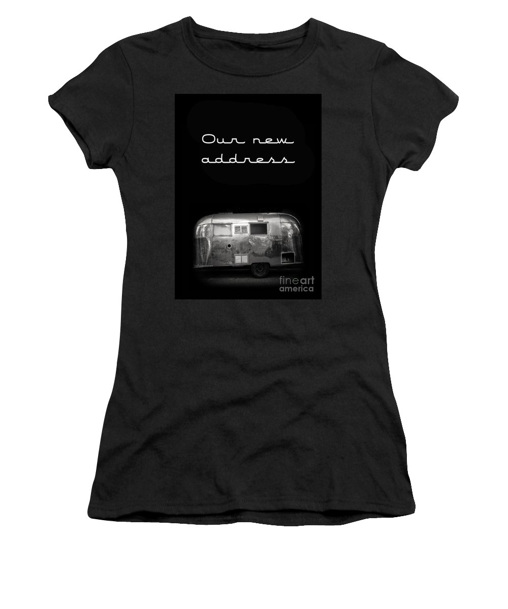 Black Women's T-Shirt (Athletic Fit) featuring the photograph Our New Address Announcement Card by Edward Fielding