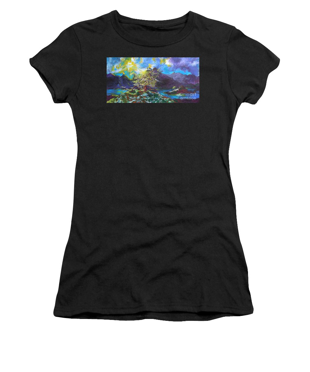 Landscape Women's T-Shirt (Athletic Fit) featuring the painting Out Of The Blue by Stefan Duncan