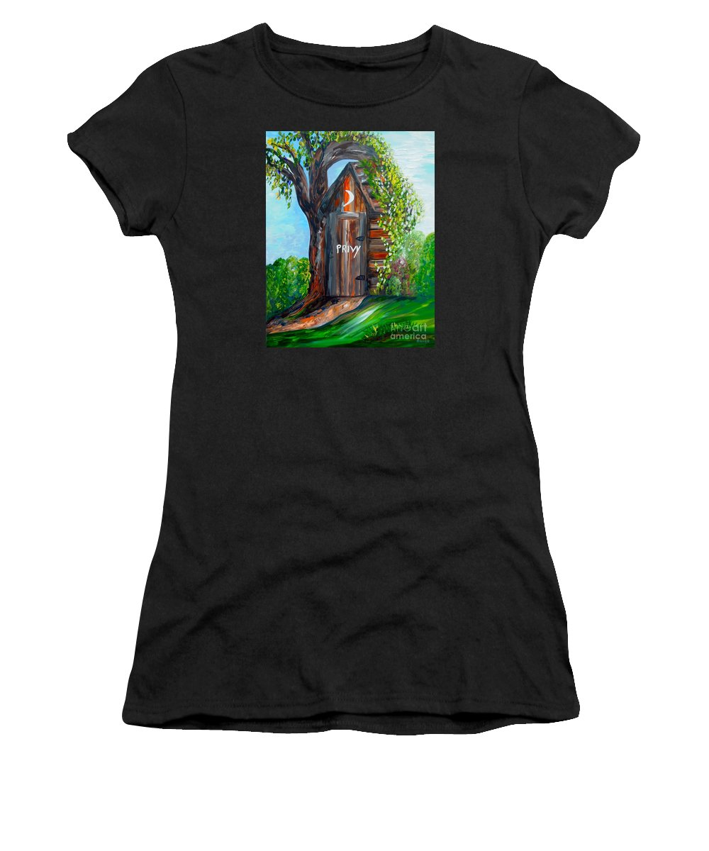 Out House Women's T-Shirt featuring the painting Outhouse - Privy - The Old Out House by Eloise Schneider Mote