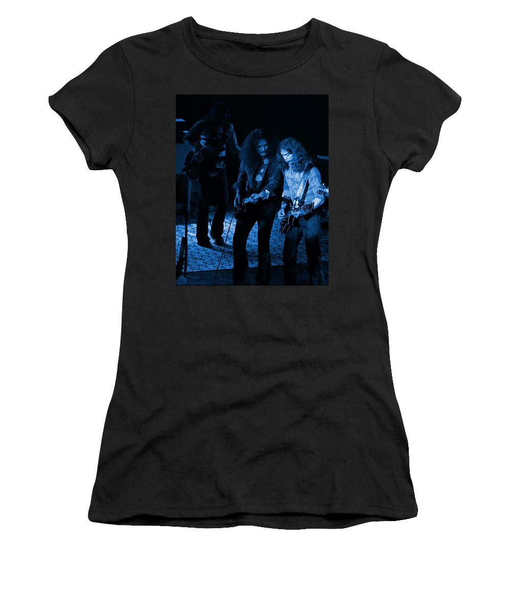 Outlaws Women's T-Shirt featuring the photograph Outlaws #25 Crop 2 Blue by Ben Upham