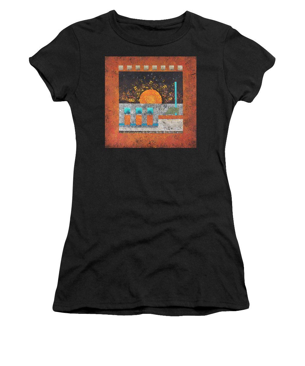Futuristic Women's T-Shirt (Athletic Fit) featuring the painting Outpost 1 by David Hansen