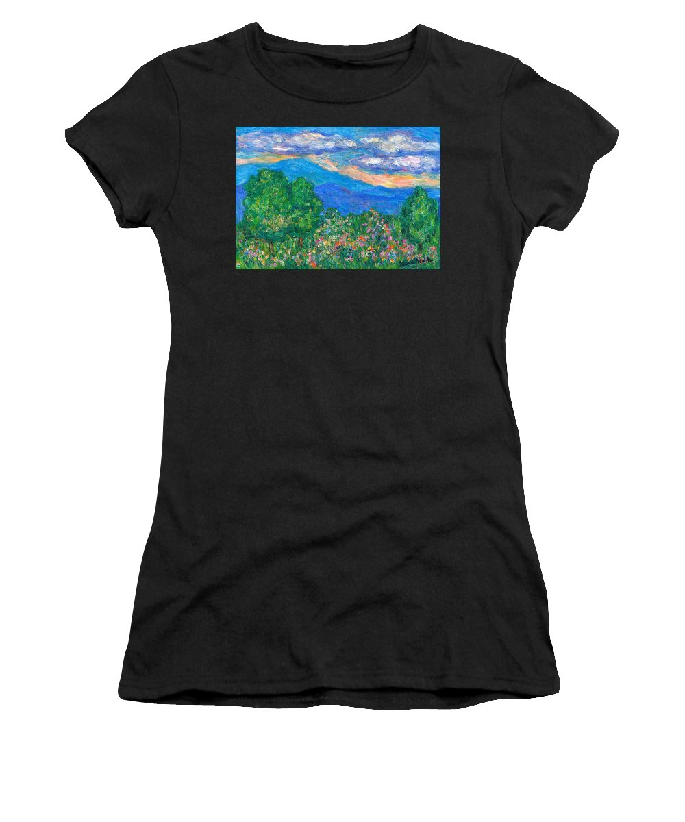 Kendall Kessler Mountains Women's T-Shirt (Athletic Fit) featuring the painting Over The Edge by Kendall Kessler