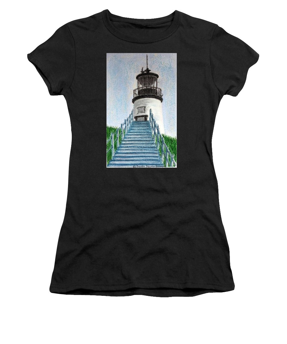 Lighthouse Women's T-Shirt featuring the painting Owls Head Up To The Light by Brenda Stevens Fanning