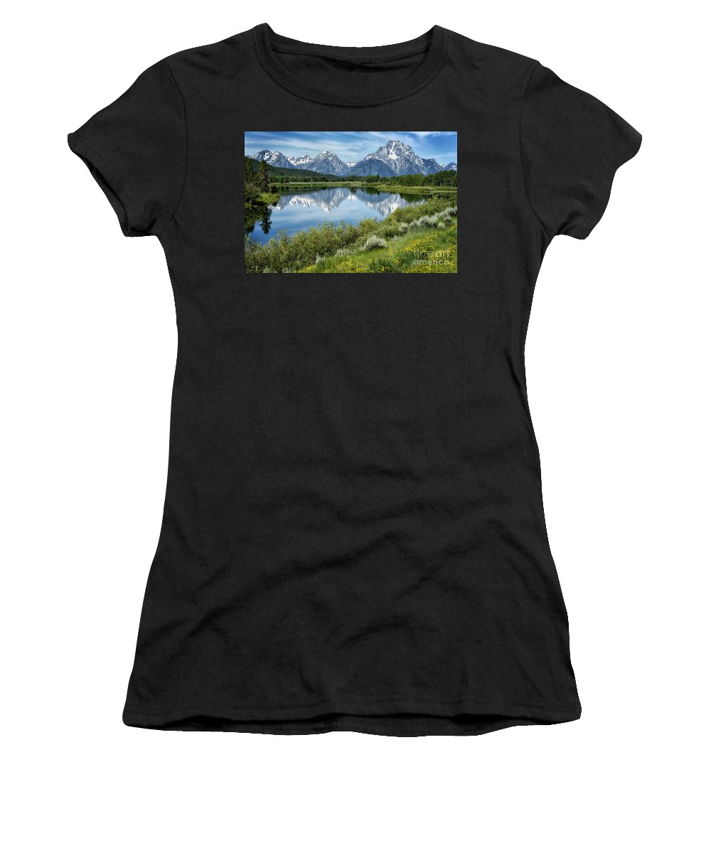 Oxbow Women's T-Shirt (Athletic Fit) featuring the photograph Oxbow Bend by Claudia Kuhn