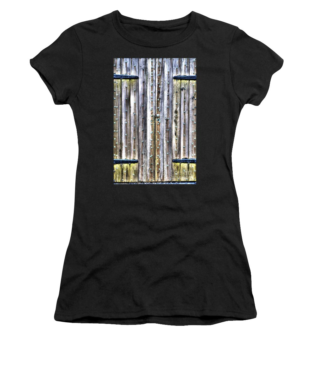 Wooden Door Women's T-Shirt featuring the photograph Oxidized Emerald Patina by Dale Powell