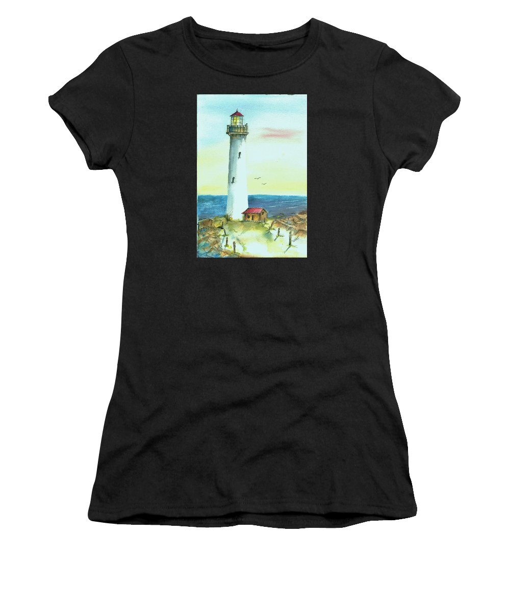 Watercolor Lighthouse Women's T-Shirt featuring the painting Pacific Lighthouse by David Patrick