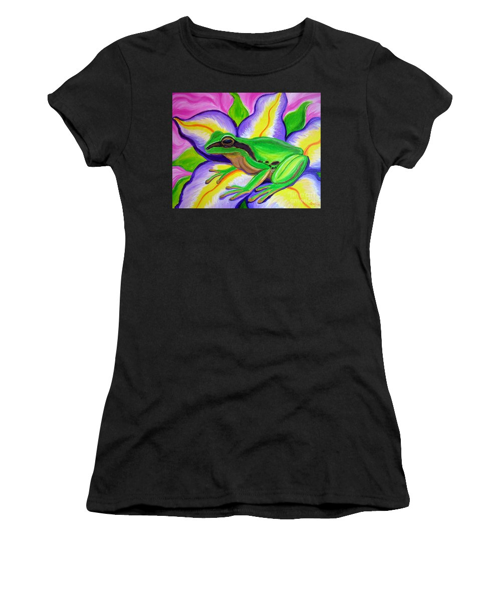 Pacific Tree Frog Women's T-Shirt (Athletic Fit) featuring the painting Pacific Tree Frog And Flower by Nick Gustafson