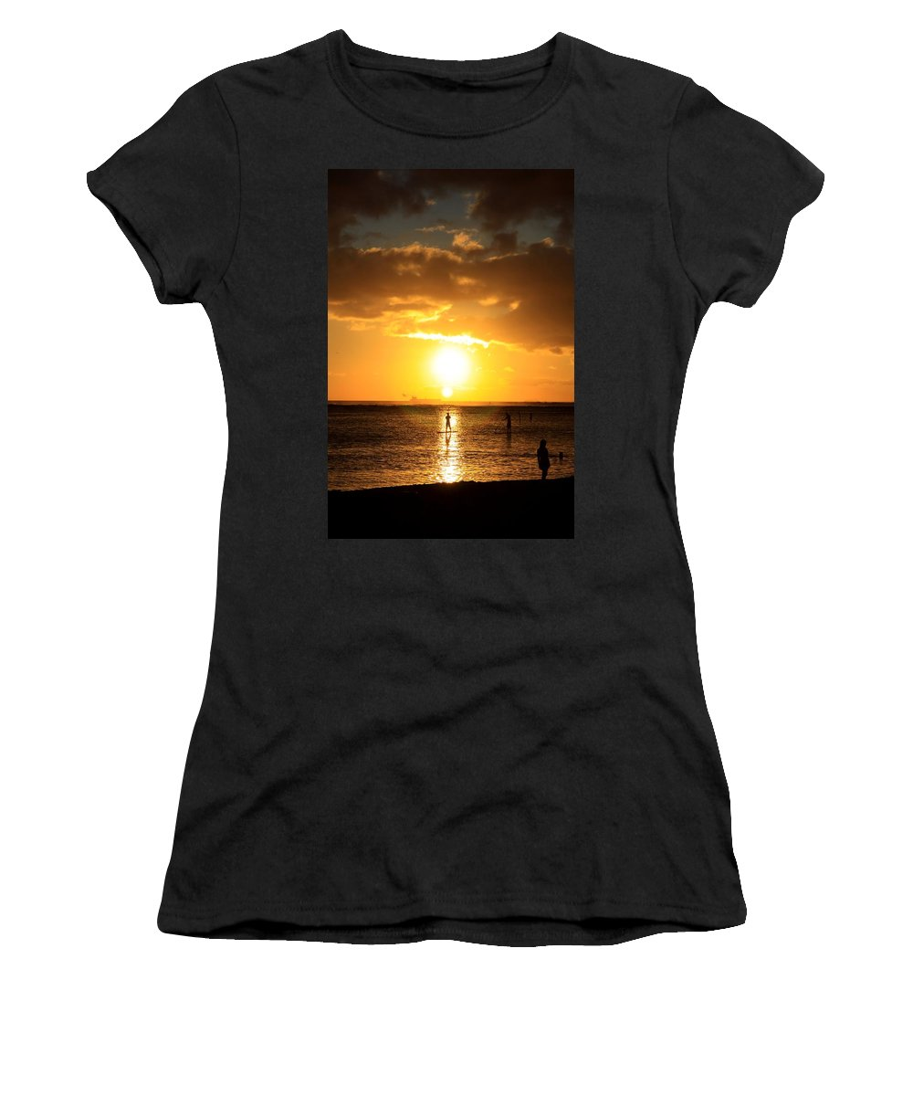 Sunset Women's T-Shirt (Athletic Fit) featuring the photograph Paddle Boarding Ala Moana by DJ Florek