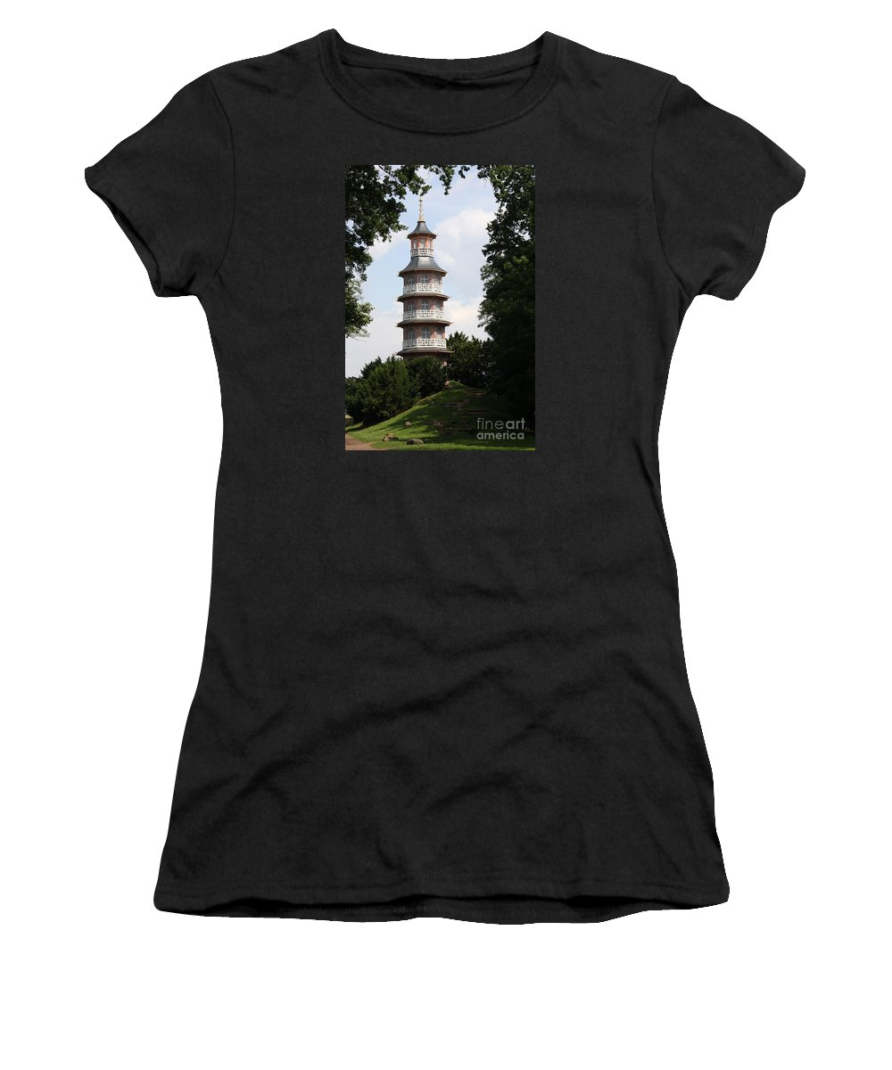 Pagoda Women's T-Shirt (Athletic Fit) featuring the photograph Pagoda - Dessau Woerlitz by Christiane Schulze Art And Photography