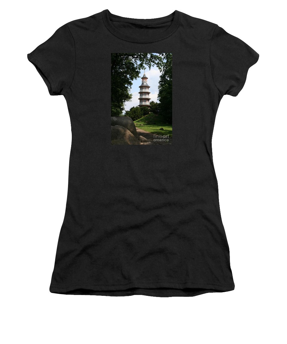 Pagoda Women's T-Shirt featuring the photograph Pagoda I - Dessau Woerlitz by Christiane Schulze Art And Photography