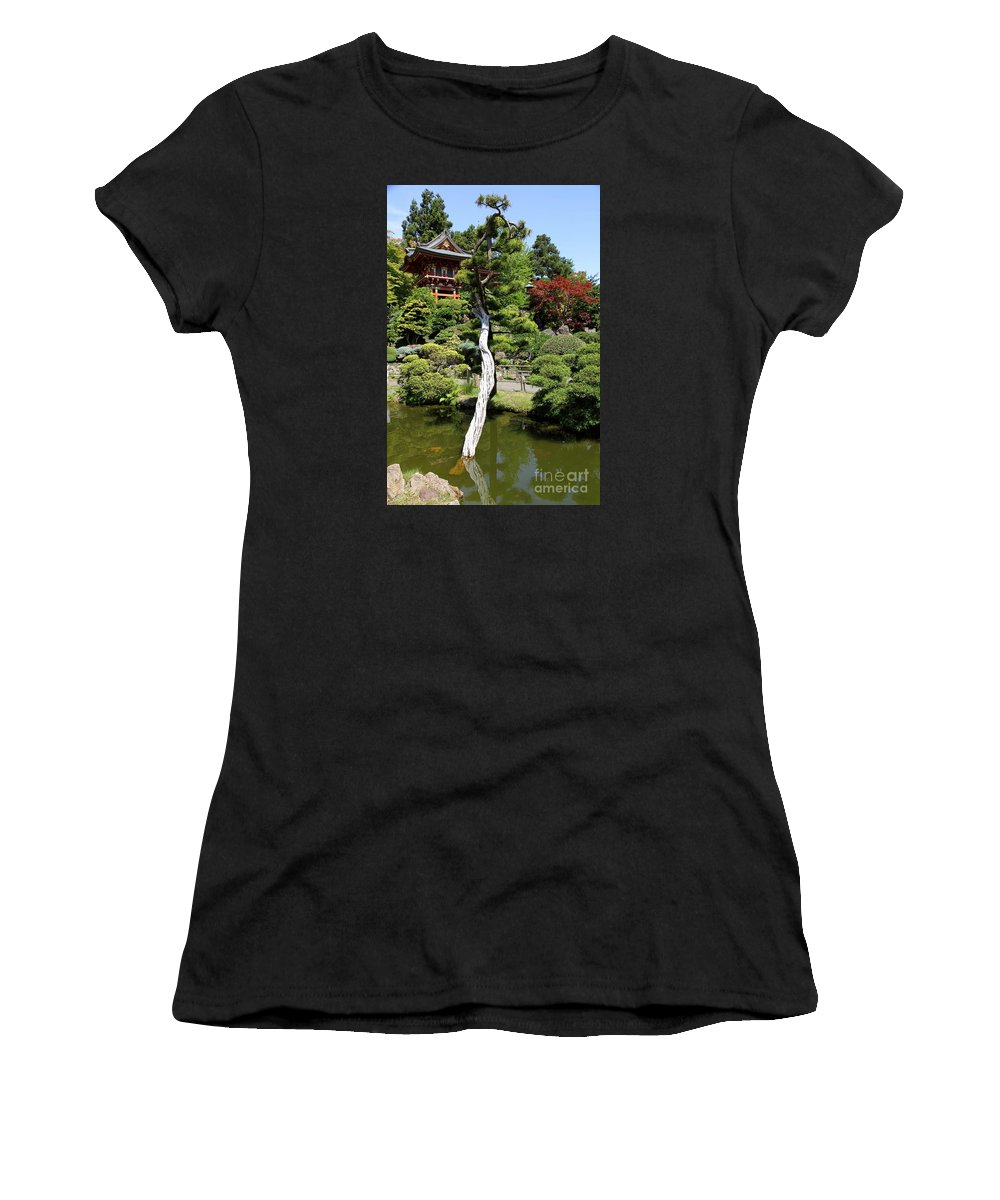 Red Gate Women's T-Shirt (Athletic Fit) featuring the photograph Pagoda On The Lake by Christiane Schulze Art And Photography