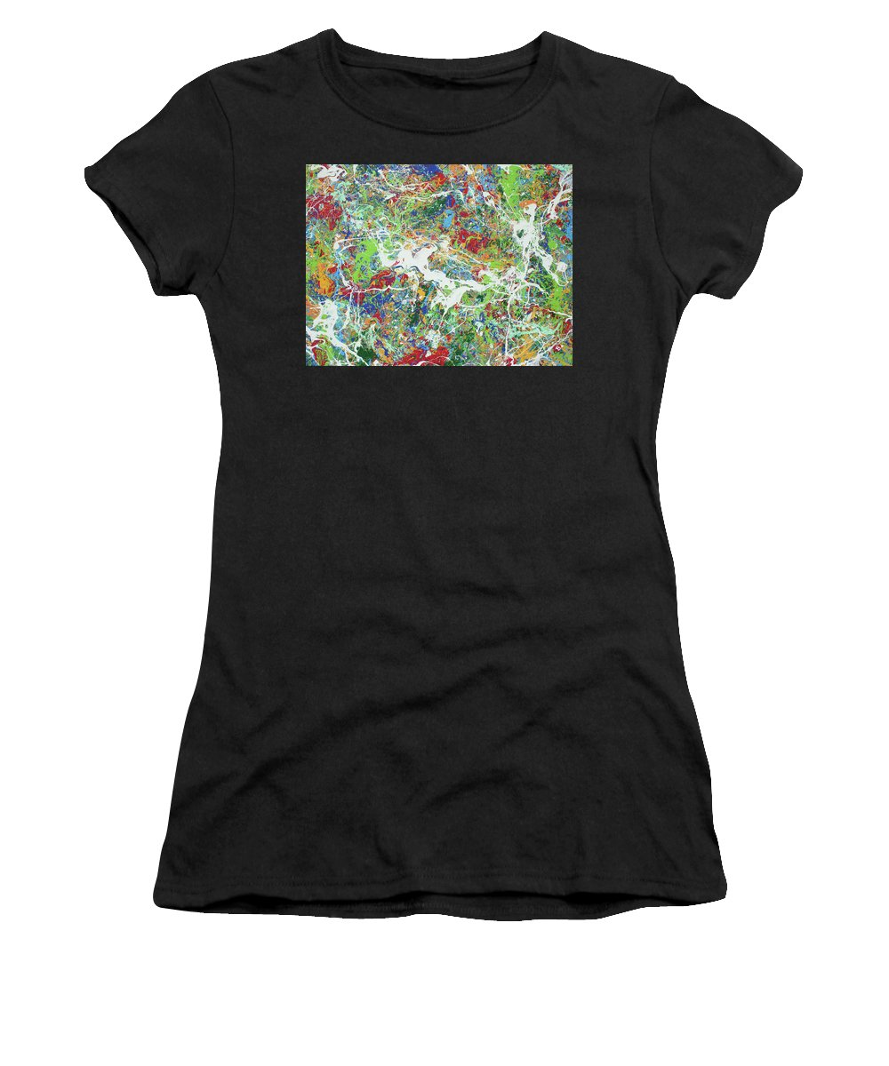 Acrylic Women's T-Shirt (Athletic Fit) featuring the painting Paint Number Sixteen by Ric Bascobert
