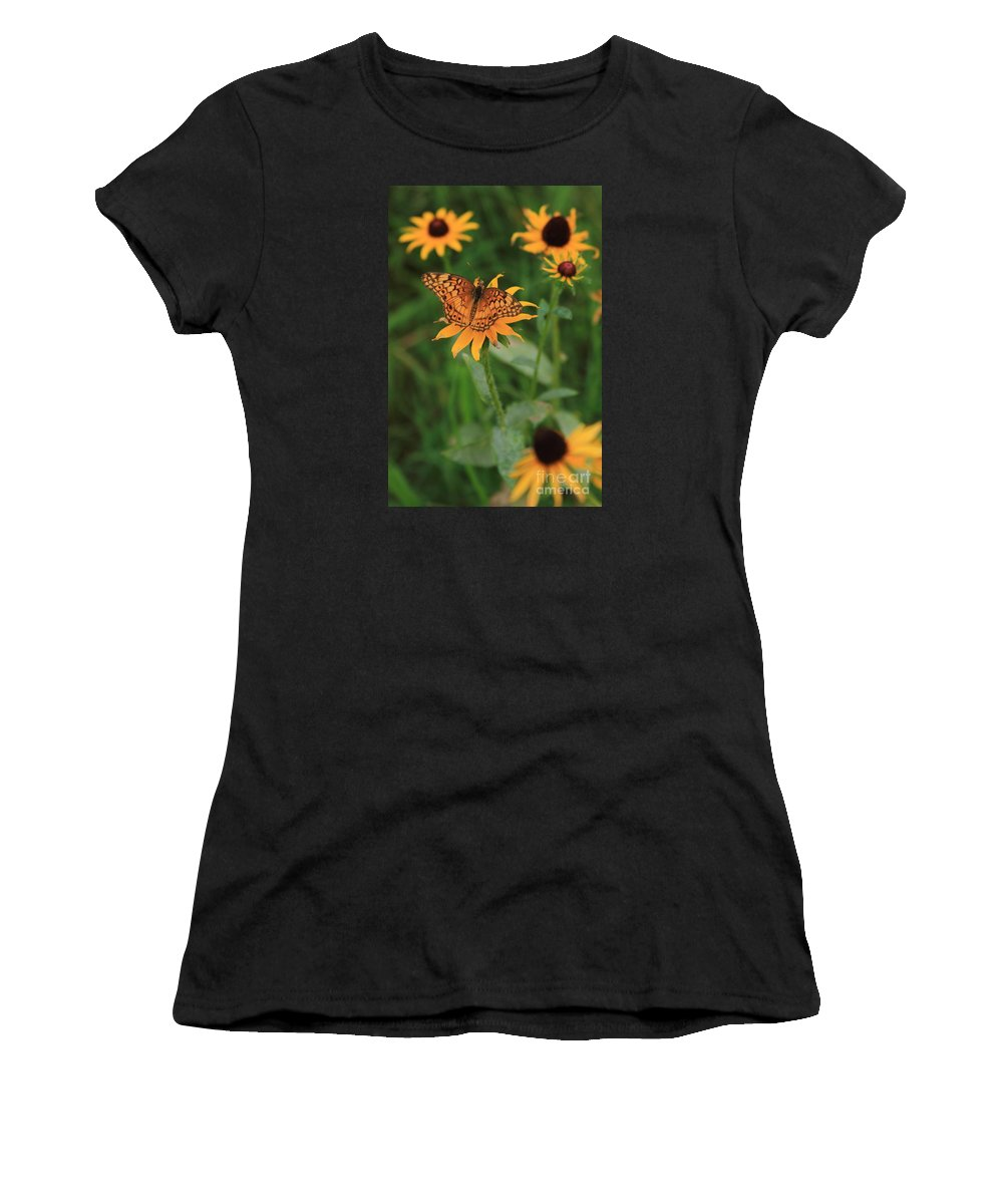 Reid Callaway Painted Lady Women's T-Shirt featuring the photograph Painted Lady With Friends by Reid Callaway