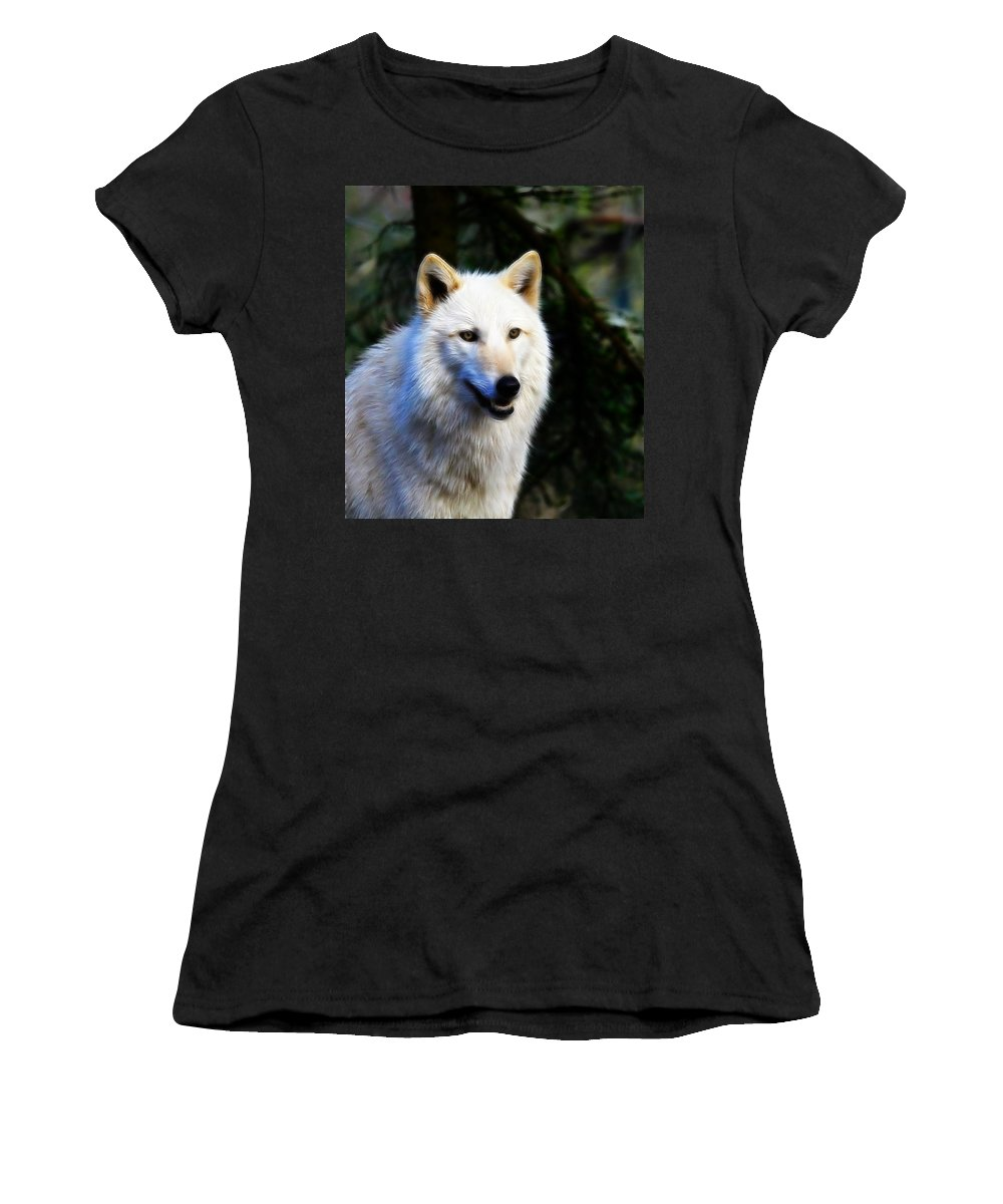 Canis Lupus Women's T-Shirt featuring the photograph Painted White Wolf by Steve McKinzie