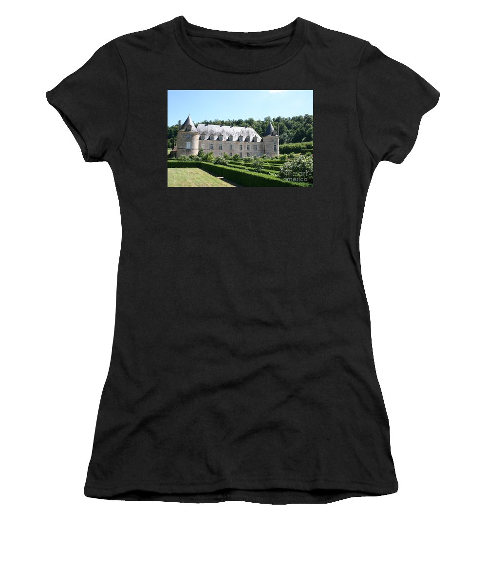 Palace Women's T-Shirt (Athletic Fit) featuring the photograph Palace And Garden Bussy Rabutin - Burgundy by Christiane Schulze Art And Photography