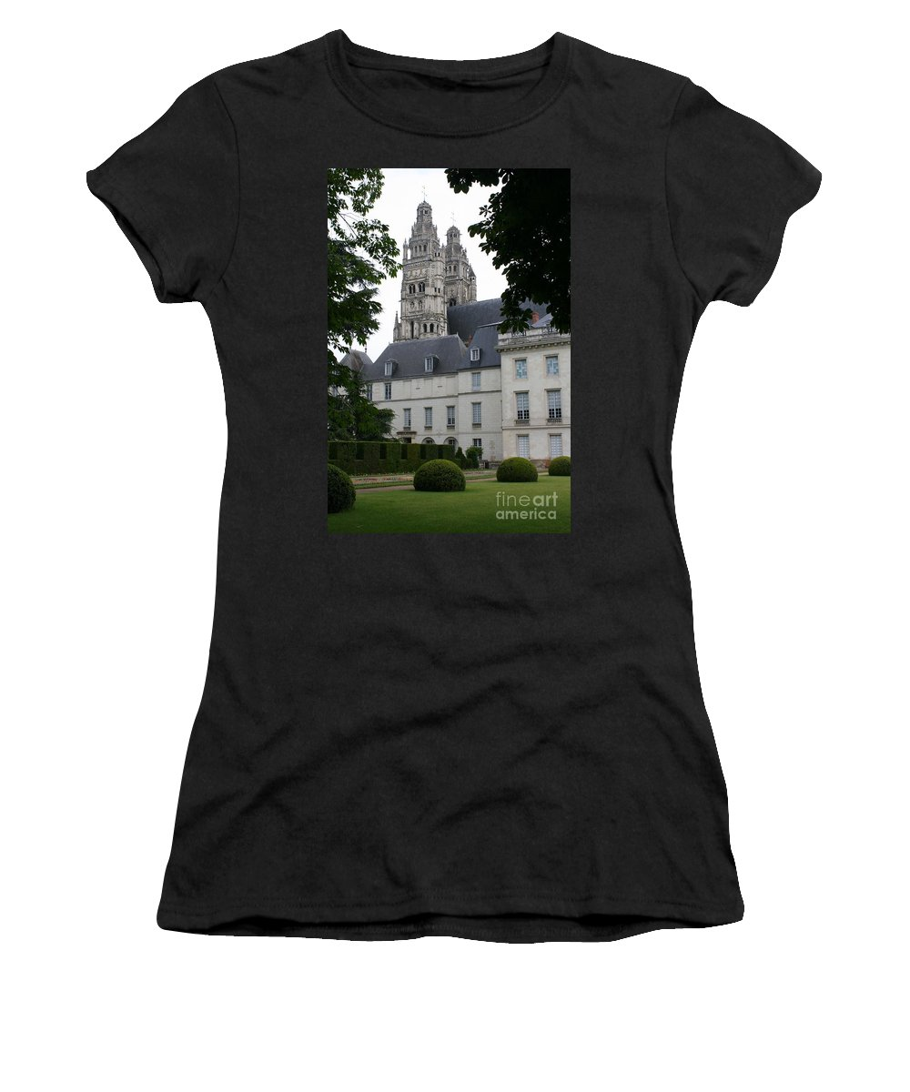 Cathedral Women's T-Shirt (Athletic Fit) featuring the photograph Palais In Tours With Cathedral Steeple by Christiane Schulze Art And Photography
