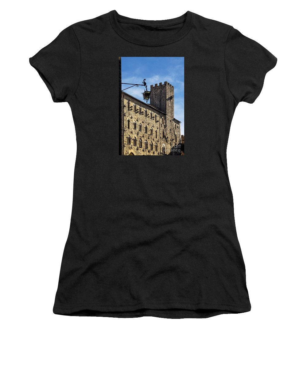 Volterra Italy Women's T-Shirt featuring the photograph Palazzo Pretorio And The Tower Of Little Pig by Prints of Italy