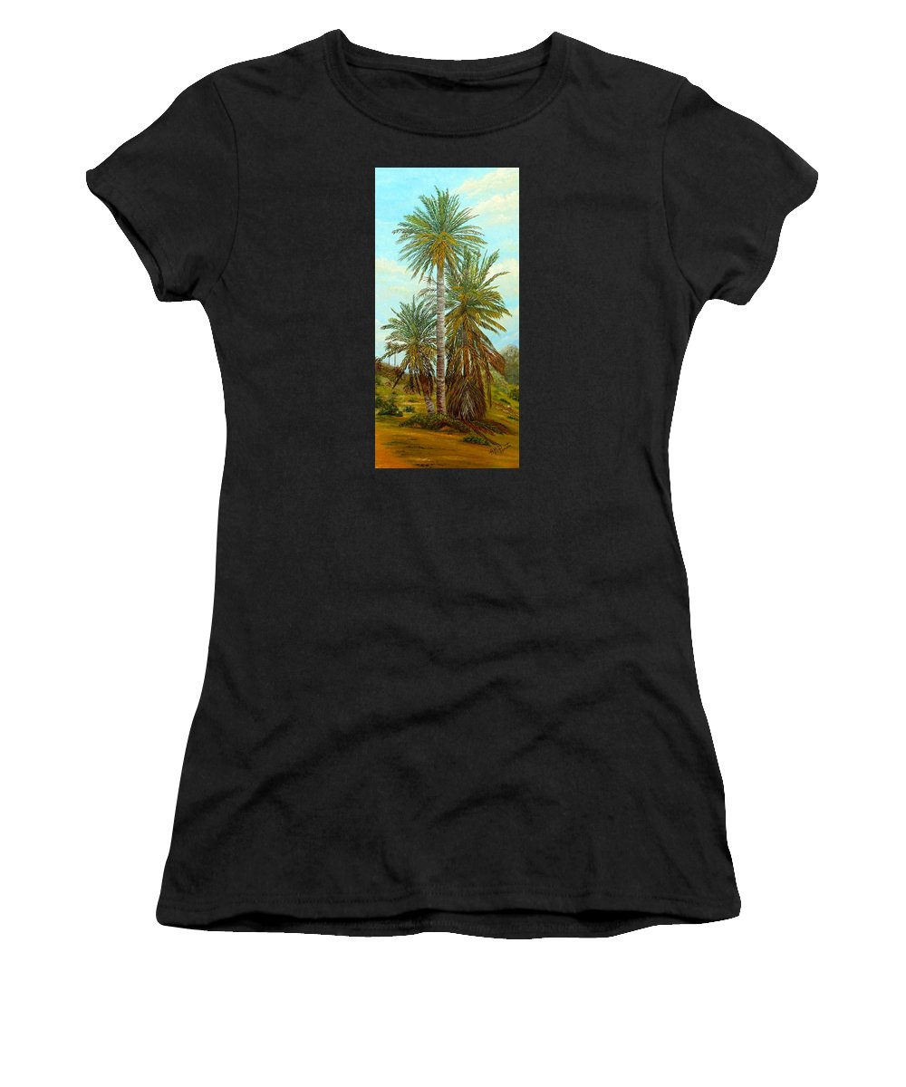 Palm Trees Painting Women's T-Shirt featuring the painting Palm Trees by Angeles M Pomata