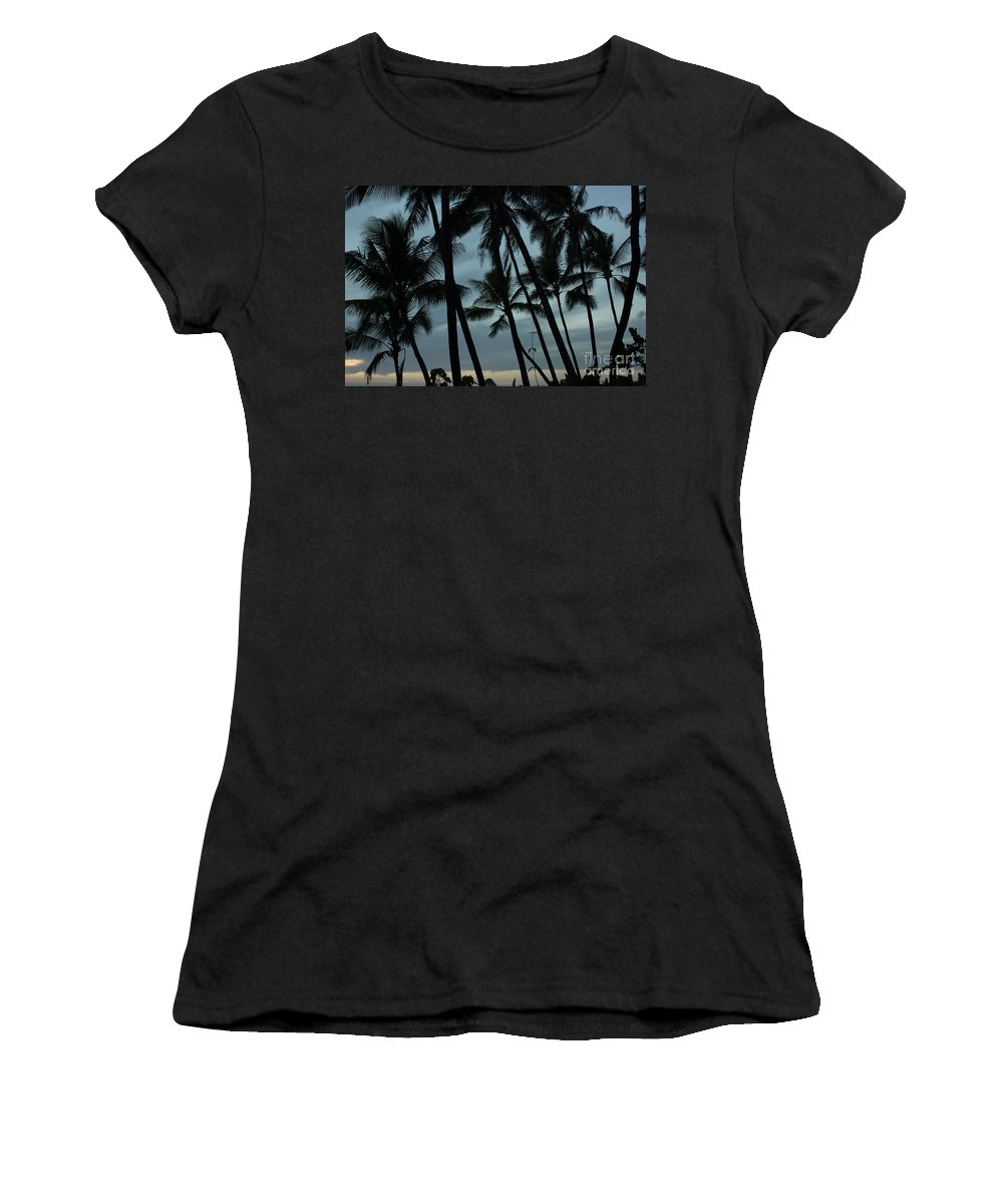 Kauai Women's T-Shirt (Athletic Fit) featuring the photograph Palms At Dusk by Suzanne Luft