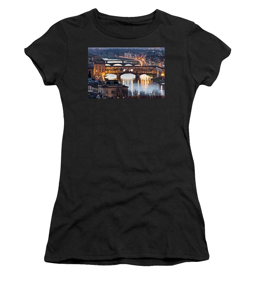 Arch Women's T-Shirt (Athletic Fit) featuring the photograph Panoramic View Of Ponte Vecchio - Florence - Tuscany by Luciano Mortula